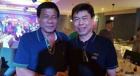Alleged drug lord Peter Lim and President Rodrigo Duterte Shake Hands During a Victory Party in Mandaue Cebu