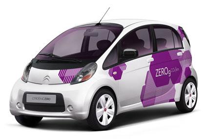 Imagen forntal-lateral del Citroën C Zero