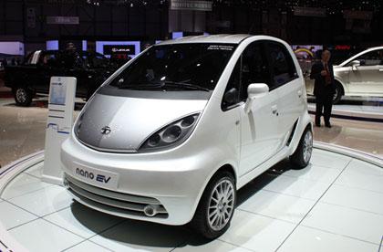 imagen del Tata Nano EV expuesto en el salón de Ginebra 2010