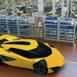 imagen del Lamborghini Minotauro en la línia de producción (recreación)