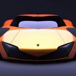 imagen frontal del Lamborghini Minotauro de color naranja