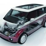 Volkswagen Bulli transparente, detalle de la batería y otors elementos