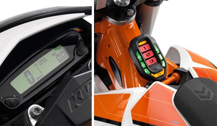 Imagen donde vemos el velocímetro y el indicador de cargar y selección de motos de conducción de la KTM Freeride E-XC 2016.