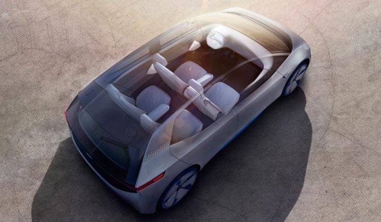 Imagen superior del Volkswagen I.D. Concept que deja ver el interior del habitáculo de este prototipo de coche eléctrico.