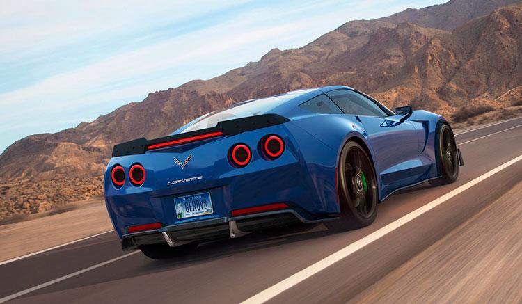 Imagen donde podemos apreciar el diseño de la zona trasera del deportivo eléctrico Genovation GXE, basado en el Corvette Grand Sport 2017.