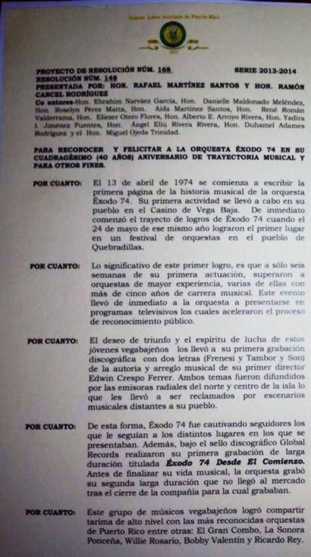 Resolucion de la Legislatura Municipal y el alcalde reconociendo a Exodo 74
