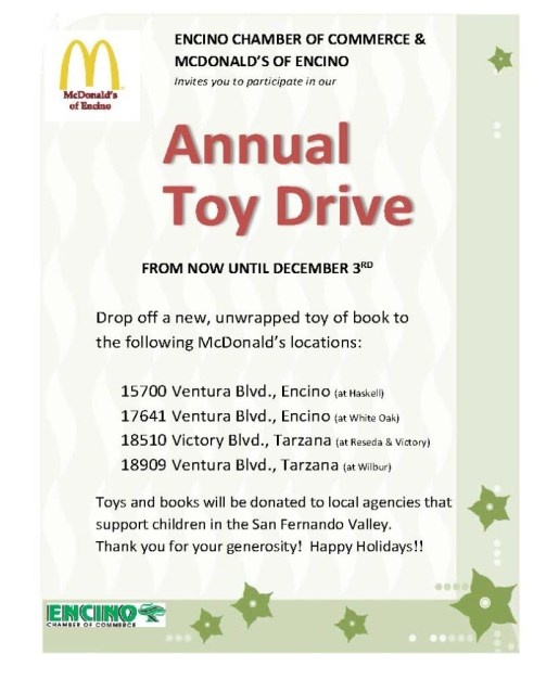 Toy Drive Flier - McDonald's drop offs
