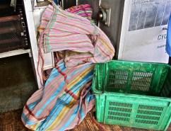 Colorful sacks at Sorwathe tea factory.