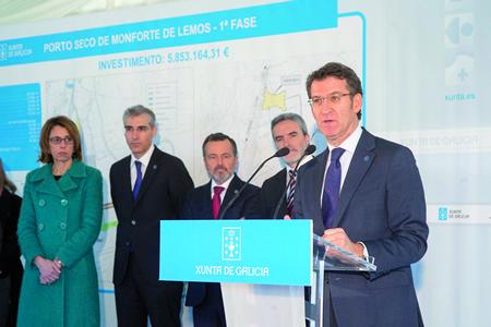 O presidente da Xunta de Galicia, Alberto Núñez Feijóo, lembrou en Monforte que o Plan Impulsa Lugo recolle o Porto Seco como unha das súas medidas prioritarias, e como un medio para incrementar as exportacións galegas. CMATI