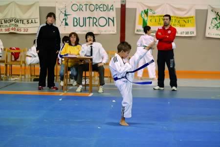 Alejandro Fernández, do club Neka, durante a súa actuación no Campionato provincial de Taekwondo celebrado o día 15 en Monforte. Esta proba foi organizada polo club Neka, e contou coa participación de 120 deportistas de toda a provincia, que mediron as súas forzas para clasificarse cara o Campionato galego e nacional de finais deste mes. EC