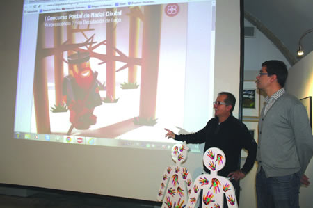 O vicepresidente da Deputación de Lugo, Antonio Veiga, e o delegado de Cultura do organismo provincial, Mario Outeiro, na presentación do I Concurso Postal do Nadal Dixital. GPVDL
