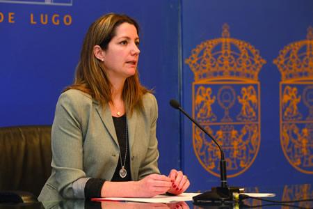 A vicepresidenta segunda da Deputación, Lara Méndez, durante a rolda de prensa. GPDL.