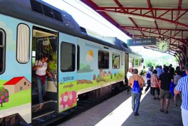 Imaxe de arquivo do tren da Ruta do Viño Valdeorras-Ribeira Sacra do pasado verán. (Arquivo EC).