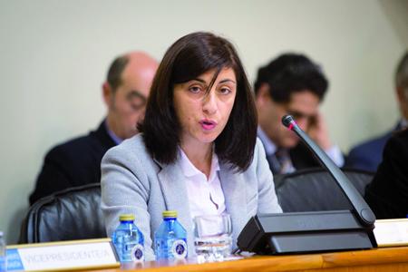 A conselleira de Medio Rural, Ángeles Vázquez, durante a súa comparecencia na Comisión 3ª do Parlamento de Galicia.  CMR