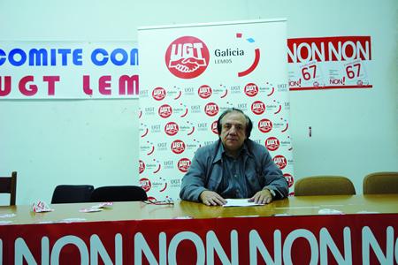 Imaxe de arquivo do que foi secretario xeral da UGT-Lemos durante os últimos 26 anos, Mario Docasar, na sede da forrmación sindical en Monforte. Arquivo EC