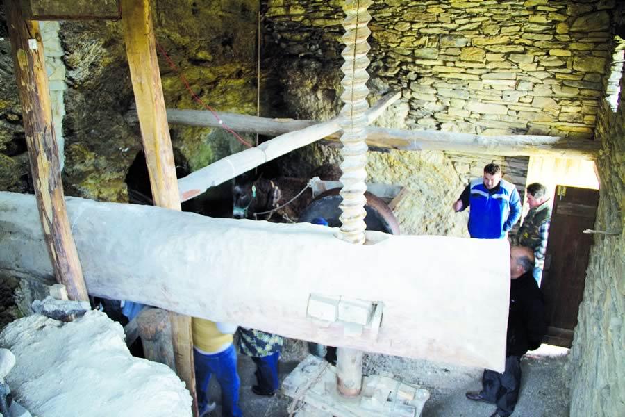 O muíño de Bendilló atrae anualmente a numeroso público, interesado por coñecer un dos últimos vestixios da produción artesanal do aceite de Galicia. Arquivo EC