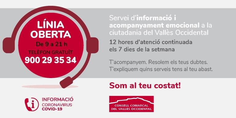 El Vallès Occidental posa en marxa una línia telefònica gratuïta d'informació i acompanyament emocional a la ciutadania de la comarca