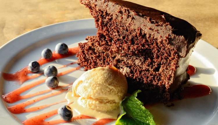 Chocolate cake with caramel ice cream
