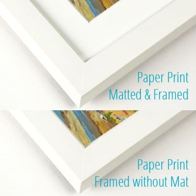 Paper print framed with a mat and without
