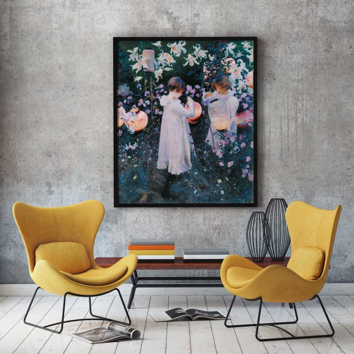 John Singer Sargent framed art print hanging in a living room