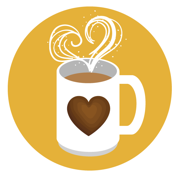 Cup of Coffee Icon the steam is making a heart shape