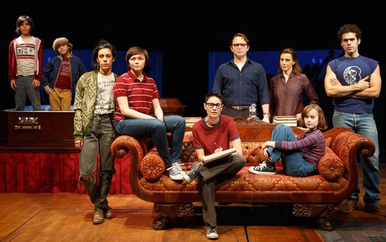 "The ""Fun Home"" cast (beginning fourth from left): Tony nominees Emily Skeggs, Beth Malone (seated), Michael Cerveris, Judy Kuhn, Sidney Lucas (also seated)."
