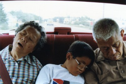 And this: Napping with his grandparents after touring a flashcard factory.