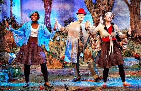 """The birds (and other characters) in """"Frog and Toad,"""" Taryn Janelle (from left), Chris Brent Davis and Stephanie Earle. Photo: Chris Bartelski"""