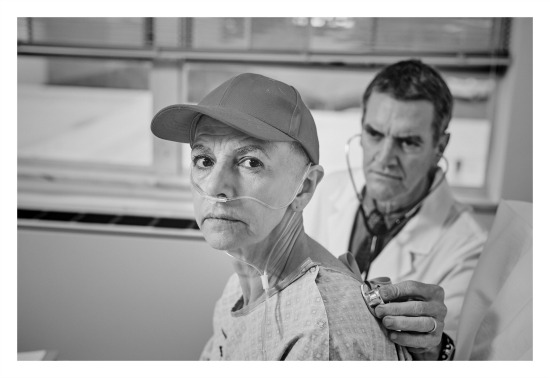 """Wit"" at Aurora Theatre: Mary Lynn Owen as English professor Vivian Bearing, Chris Kayser as her chief oncologist. Photo by Chris Bartelski"