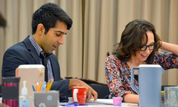 """Disgraced"" at the Alliance: Jaspal Binning and Courtney Patterson, who play husband and wife, at the first rehearsal. Photo by Kathleen Covington"