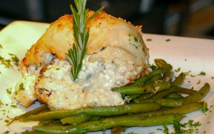 At Capers on Main: the juicy chicken breast with cheese and herbs.
