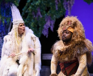 The White Witch (Tess Malis Kincaid) and Aslan (Enoch King). Photo: Greg Mooney