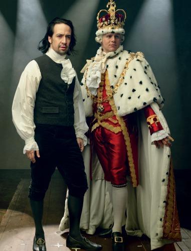 Lin-Manuel Miranda (left) as Hamilton and Jonathan Groff as King George III. Photo: Joan Marcus