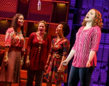 "Abby Mueller as Carole solos, with backup singers, on ""A Natural Woman."" Photo: Joan Marcus"
