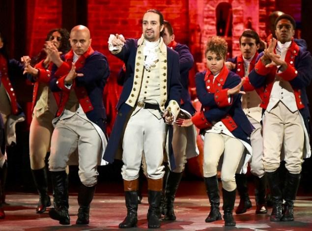 "Lin-Manuel Miranda leads the cast of ""Hamilton"" in its Tony peformance. Photo: Theo Wargo/Getty Images"