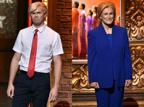 Rannells as Donald Trump, Glenn Close as Hillary Clinton in a Tony spoof. Photo: Theo Wargo/Getty Images