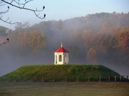 The red-roofed gazebo atop an Indian mound in the middle of a cow pasture is one of Georgia's most-photographed spots. It's at Hardman Farm Historic Site in Nacoochee Valley.