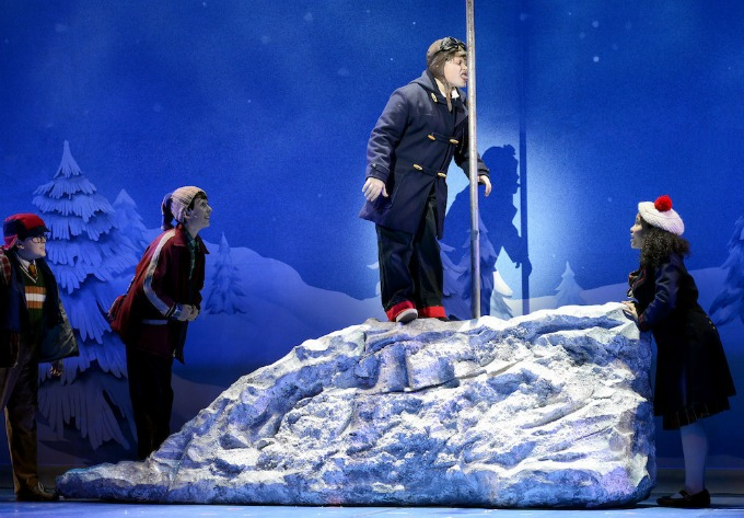 """The national touring company of """"A Christmas Story,"""" at a particularly sticky spot in the plot."""