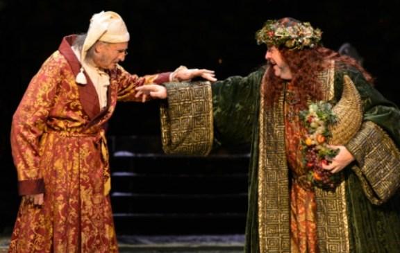 Scrooge (David de Vries) encounters the Ghost of Christmas Present (Bart Hansard). Photo: Greg Mooney