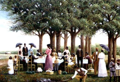 This painting depicts Oxford's Juneteenth celebration, believed to be the oldest of its kind in the United States. It commemorates the end of slavery.