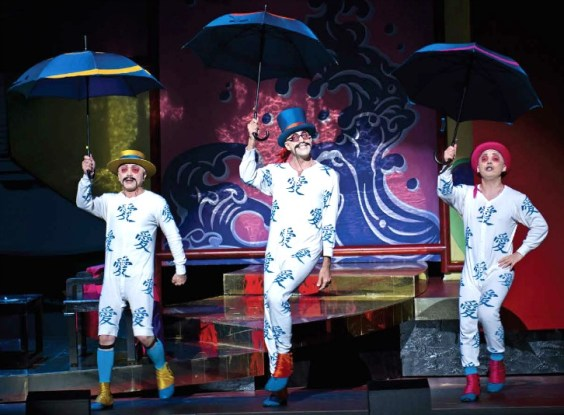 The comic characters of Ping, Pang, Pong. Photo: Philip Groshong / Cincinnati Opera