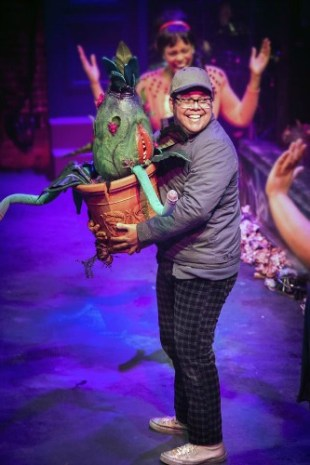 Seymour (Juan Carlos Unzueta) with the Audrey II. Photo: Casey Gardner