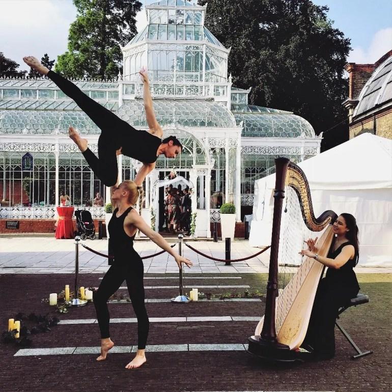 Zita Silva Harpist and acrobats