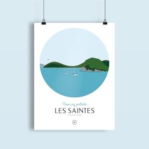 affiche Les Saintes, collection Antilles françaises, vue sur le pain de sucre à terre de haut
