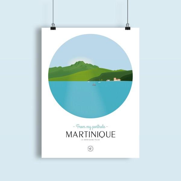 affiche Martinique, vue sur la montagne pelée depuis la zone de mouillage de Saint Pierre
