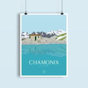 chamonix illustration du lac blanc et de la vue sur le mont blanc