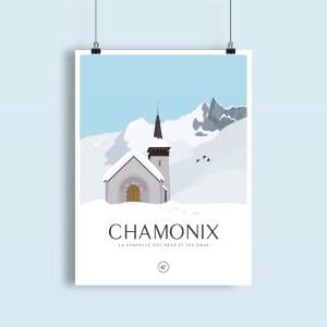 Les Drus derrière la chapelle des Praz de Chamonix sous la neige