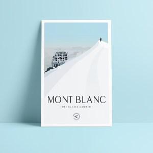 carte postale de la vue sur le refuge du gouter, voie normale ascension du Mont Blanc