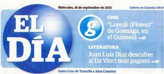 La noticia en sumario de portada de 'El Día', 16/09/2015