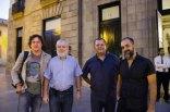 Los tres moderadores de 'Encuentros con el cine' en septiembre y uno de los cineastas invitados. De izqda a dcha, Alejandro Krawietz, Jorge Gorostiza, Joaquín Ayala y Miguel G. Morales.